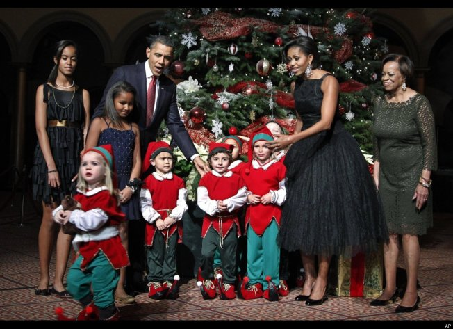 Michelle Obama Wearing Vintage Norman Norell Dress (Dec. 2010)