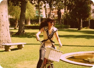 Zooey Deschanel Riding a Vintage Inspired Bike