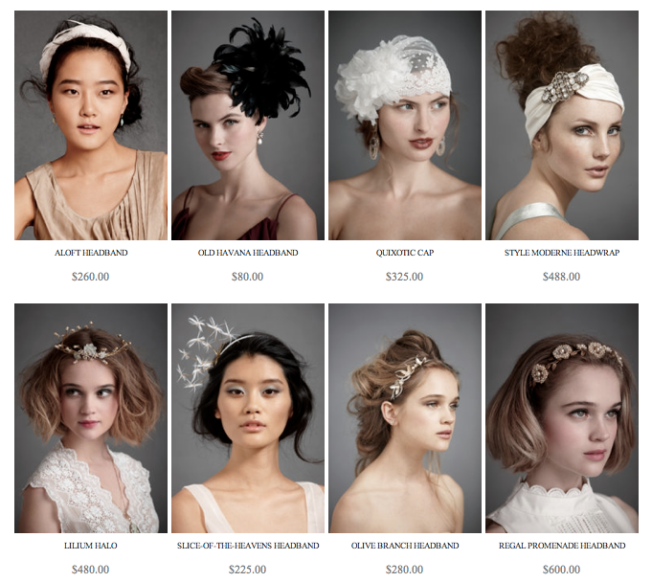 "Screen shot from the BHLDN ""headpieces"" page"
