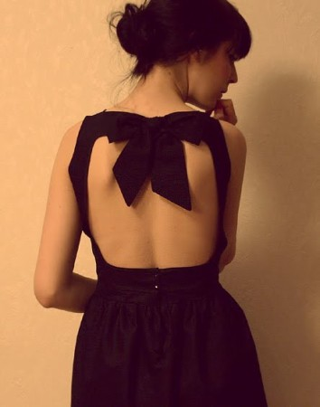 Backless Dress with Bow on Top