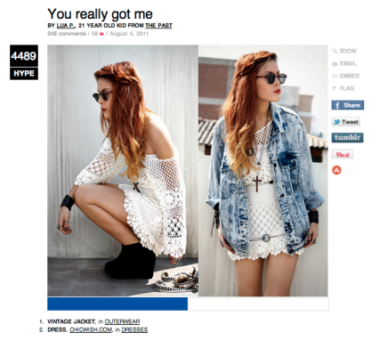 Screenshot of Lookbook post with vintage jacket