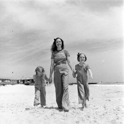 Women and children in vintage bell bottoms
