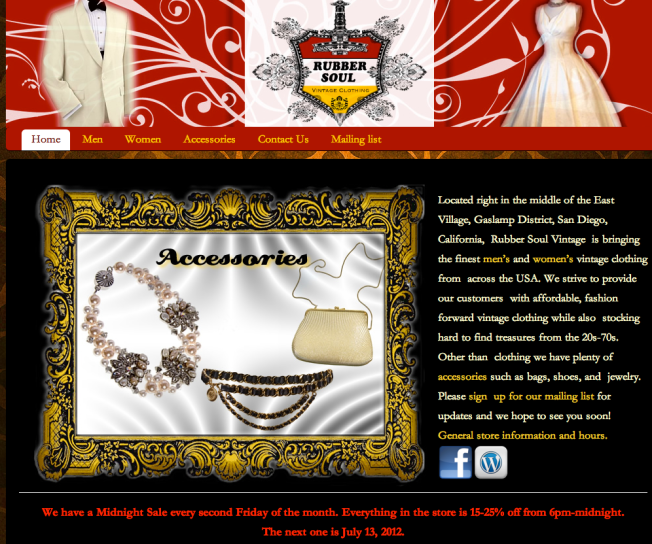 Screen shot of our website