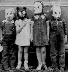 Vintage masked Halloween children